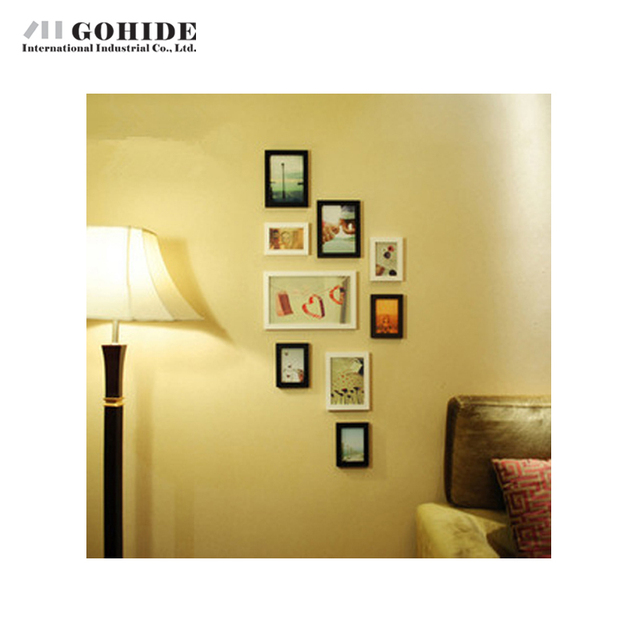 Juh decoration wooden decorative wall photo frames 9pcs set box small combination picture frame white