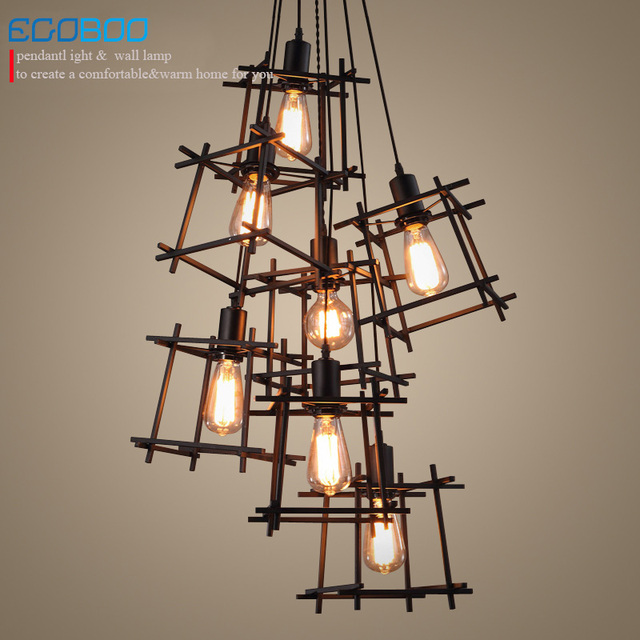 American Loft Vintage Pendant Light Personality Wrought Iron Lights Nordic Lamp Cage Lighting Fixtures