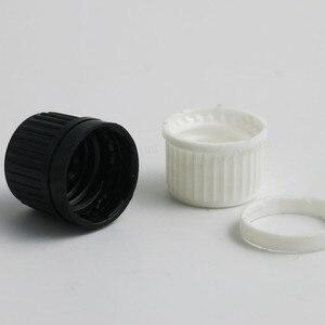Image 4 - 200 x 100ML 50ML 30ML 20ML 10ML 5ML l Empty Small Amber Boston Round Glass Essential Bottle  White Black Tamper Evident Cap