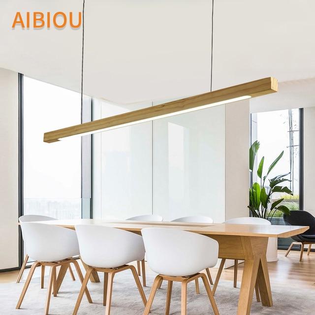 Aibiou Wooden 220v Led Pendant Lights For Dining Wood Office Lamp Nordic Hanging Light Kitchen