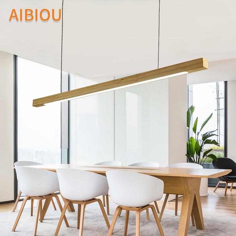 AIBIOU Wooden 220V LED Pendant Lights For Dining Wood Office Pendant Lamp Nordic Hanging Light Kitchen Lighting Fixtures