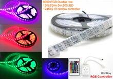 5 m 600 LED 5050 SMD 12 V su geçirmez esnek ışık 120 led/m LED şerit renkli tam renk RGB LED şerit IP67 24 Anahtar IR