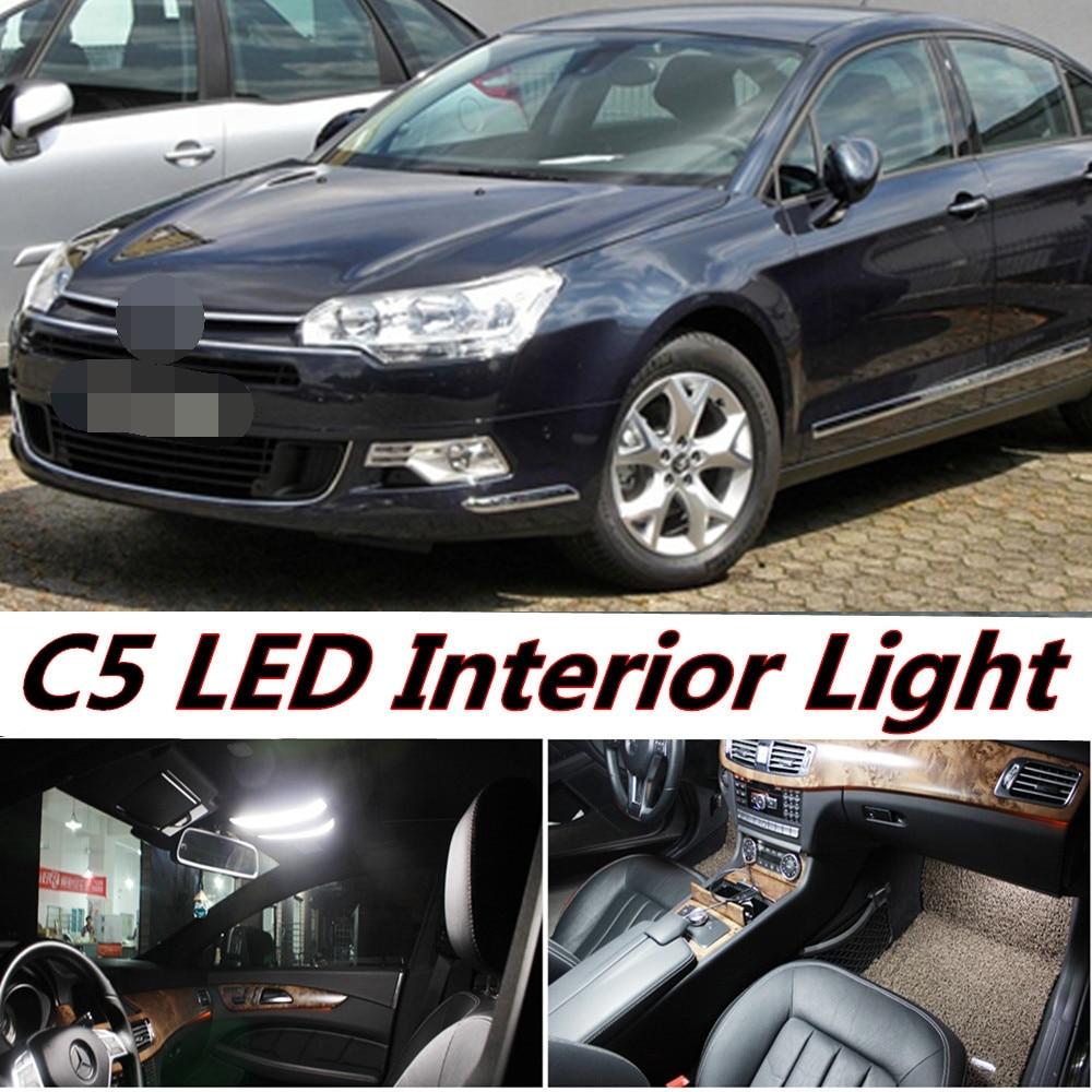 Tcart 7pcs free shipping error free car led interior light kit auto led bulbs white lamps for citroen c5 accessories 2008 2016