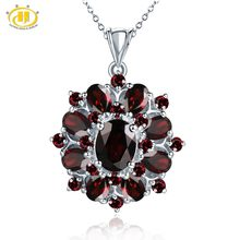 Hutang 7.54ct Natural Black Garnet Pendant 925 Sterling Silver Necklace Fine Gemstone Jewelry Elegant Design for Women Gift New(China)
