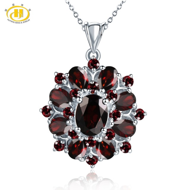 Hutang 7.54ct Natural Black Garnet Pendant 925 Sterling Silver Necklace Fine Gemstone Jewelry Elegant Design for Women Gift New