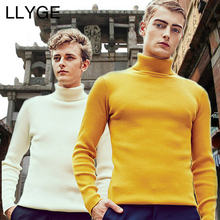 LLYGE Autumn Winter Men Turtleneck Thick Wool Sweater Plus Size Warm Solid Cashmere Sweater Pullover Mens Slim Fit Wool Knitwear