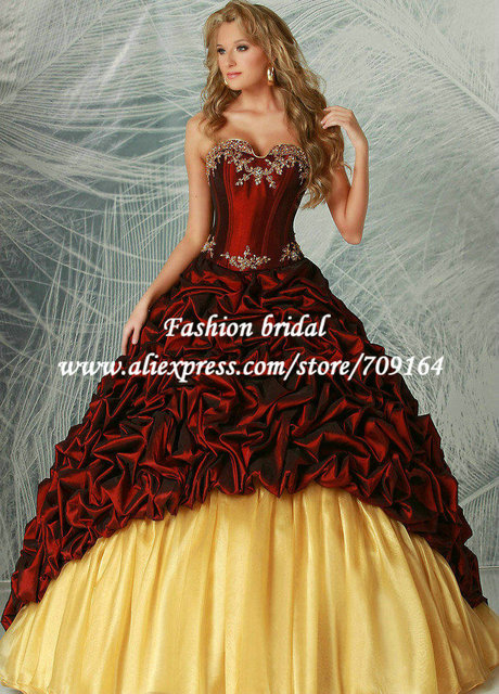 5c15c4f6c51 Royal Style Red and Yellow Quinceanera Dresses with Jacket Taffeta Long  Train Sweetheart Appliques Beaded Free Shipping EC545