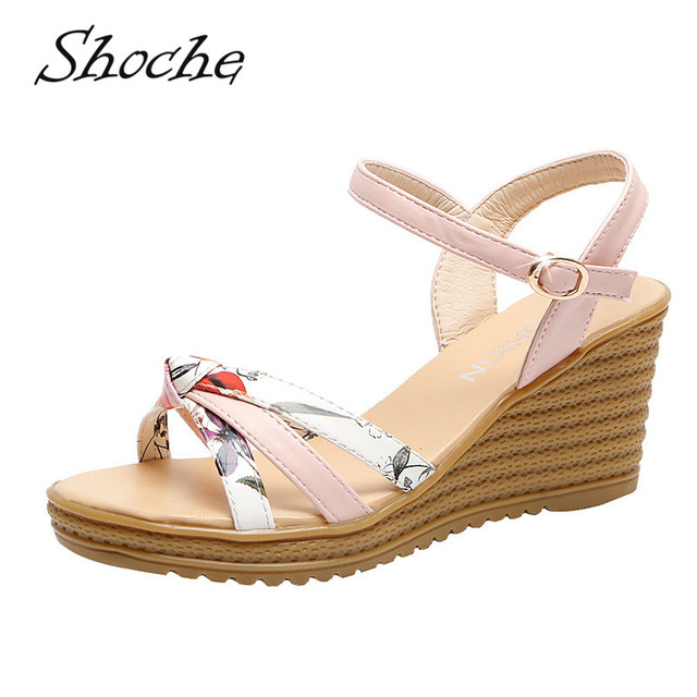 Tacones Zapatos Sandalias Sandales Dulce Buty Mujer Verano Rosa Sandalet Casuales Shoche Femme Blanco Cuña De Chunky DH9YIEW2
