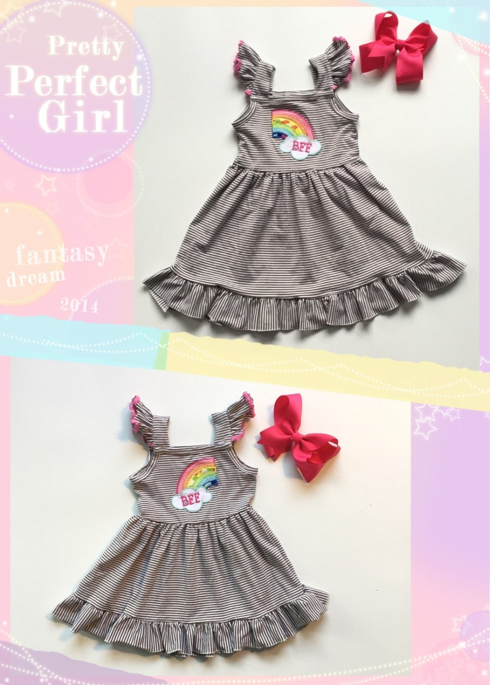 best friends dress baby girls summer dress half rainbow-shaped grey stripe dress baby children boutique dress with bow image