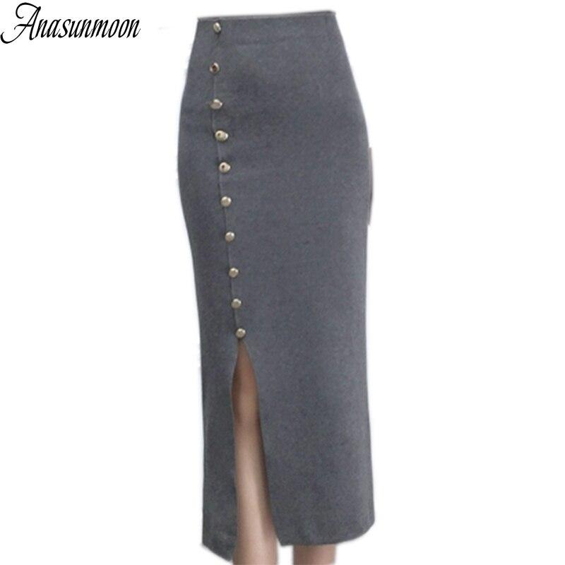 Anasunmoon Midi Skirt Front-Slit Pencil Fishtail Mermaid-Flared Business-Party High-Waist