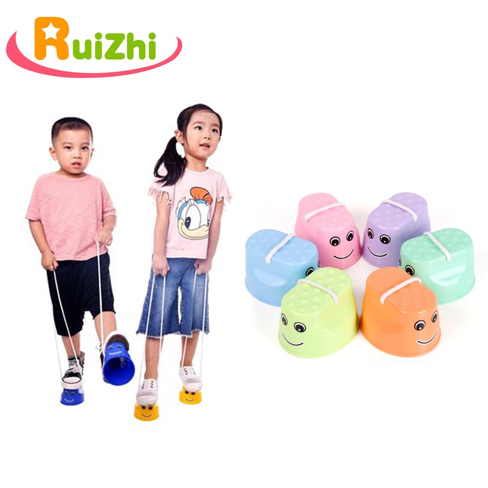 Ruizhi 1 Pair Plastic Jump Shoes Children Stilts Balance Training Smiley Face Walker Fun Sport Toy Kids Outdoor Activity RZ1015(China)