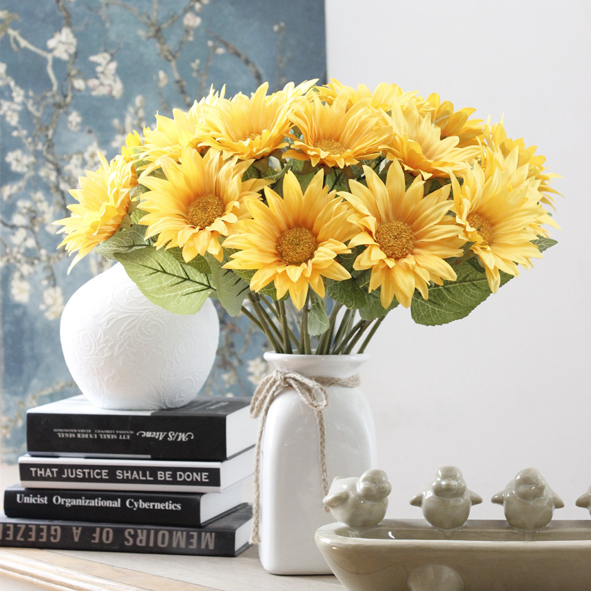 Us 45 0 30pcs Pack Sunflowers Wedding Decoration Floral Yellow Orange Red Blue In Artificial Dried Flowers From Home Garden On Aliexpress Com