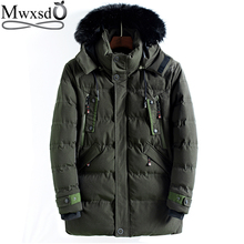 Mwxsd brand winter Mens warm hooded parka jacket and coat men middle long thick zipper parkas warm overcoat jacket