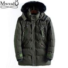 Mwxsd merk winter mannen warm hooded parka jas en jas mannen midden lange dikke rits parka warm overjas jas