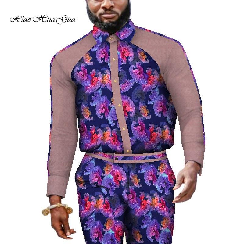 Impression traditionnelle africaine Dashiki pour hommes haut décontracté t-shirts et pantalons pantalon ensemble grande taille vêtements africains hommes ensemble WYN731