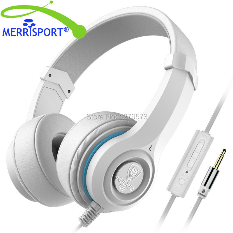 MERRISPORT Over-Ear Noise Cancelling Headphones With Volume Control , Microphone for Computer Game , Tablets ,Laptops, MP3 White philips shg7210 professional game headphones with microphone wire control headphone for xiaomi mp3 official verification