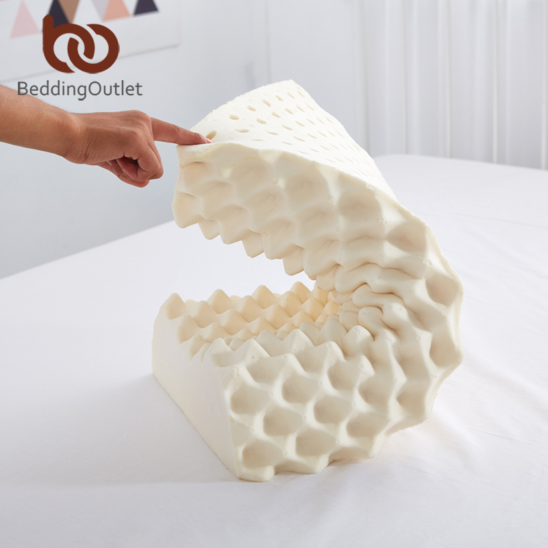 BeddingOutlet Thailand Natural Latex Bedding Bedroom Pillow Cervical Orthopedic Natural Foam Pillow Neck Health 60x40x10.5/8.5cm 2017 home sleep orthopedic neck support fiber slow rebound memory foam pillow cervical health care orthopedic latex foam pillow
