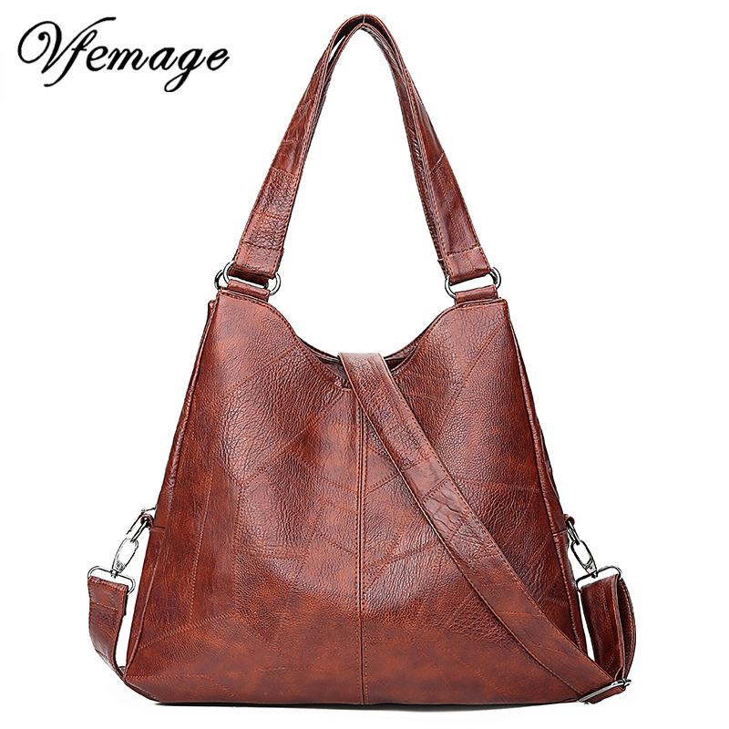 Vfemage Retro Handbags Women Bags Designer Patchwork PU Leather Bags Crossbody Bags For Women Vintage Female Shoulder Bags 2019