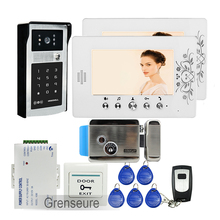 FREE SHIPPING 7″ LCD Color Video Door Phone Intercom + 2 Screens + RFID Access Keypad Password Door bell Camera + Electric Lock