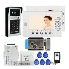 FREE SHIPPING 7″ LCD Color Video Door Phone Intercom + 2 Screens + RFID Access Keypad Password Door bell Camera + Electric Lock