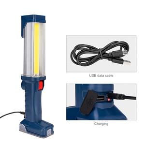 Image 4 - USB şarj edilebilir 18650 el feneri 2 modları COB LED manyetik çalışma ışığı döner kanca araba tamir çalışma ışığı güç bankası fener
