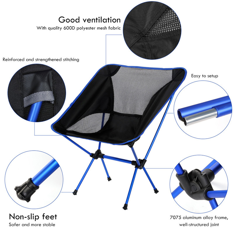 Image 2 - Portable Camping Beach Chair Lightweight Folding Fishing Outdoorcamping Outdoor Ultra Light Orange Red Dark Blue Beach Chairs-in Beach Chairs from Furniture