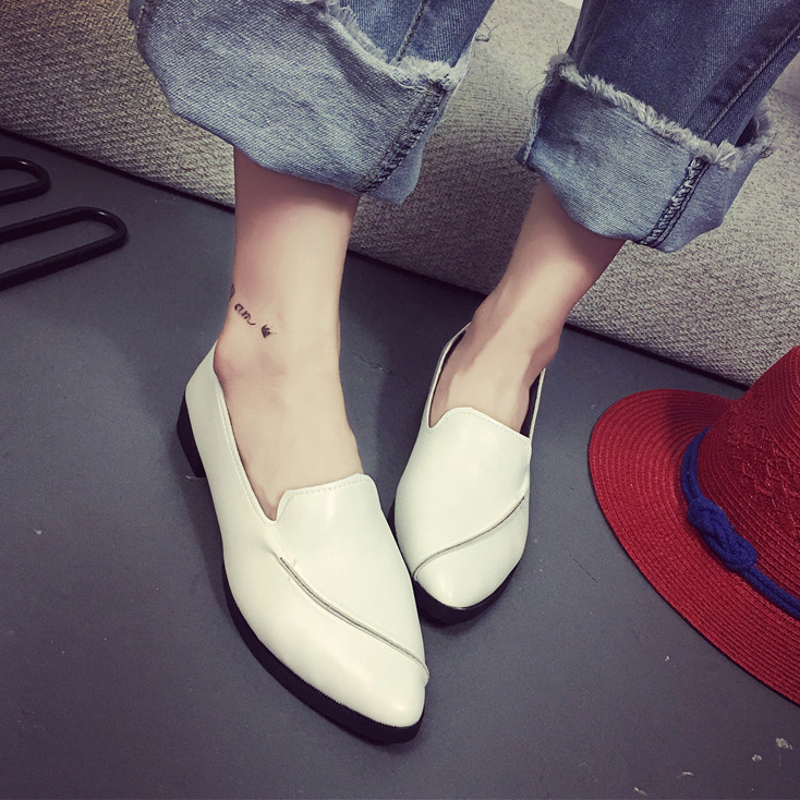 Women Loafer Pointed Toe Flat Shoes Woman Boat Shoe White Ballerina Flats Ladies Slip on Shoe Spring Autumn Zapatos mujer 2857 slip-on shoe