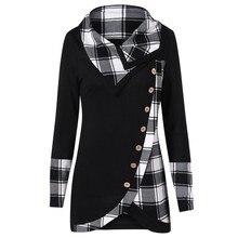 Новая блузка женская с длинным рукавом асимметричный подол плед кнопка водолазка шотландская туника Толстовка пуловер Топы# T