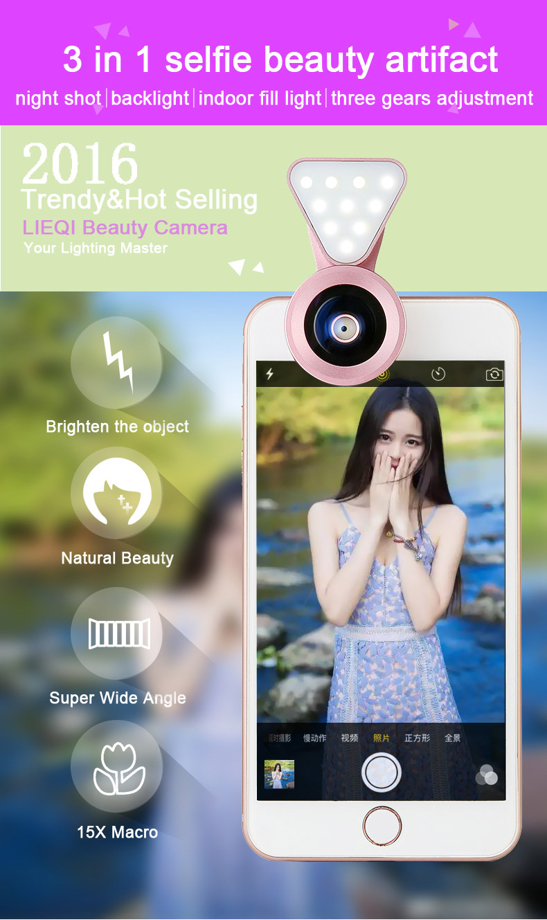 Phone Camera Lens with Beauty Led Flash Fill Light Adjustable Brightness,Wide Angle Lens,15X Macro Lens Clip-onLens for iPhone 3