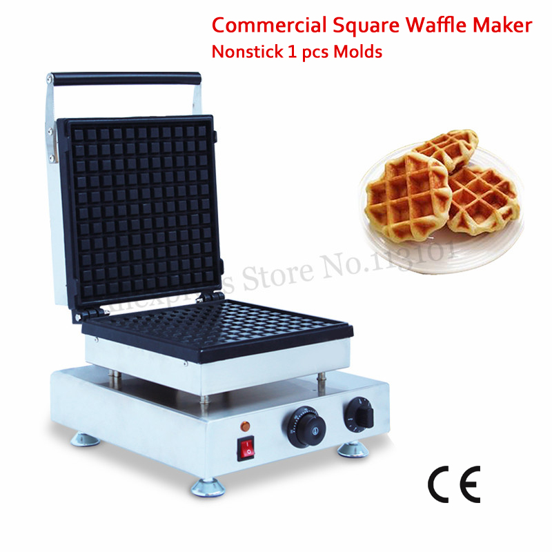 Electric Square Belgium Waffle Machine Commercial Cake Maker Liege Waffle Baker 110V 220V 1500W Snack Street Food Device