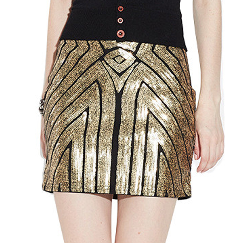 2018 New Summer Sexy Bling Beading Skirts Women Bodycon Evening Prom Party Club Paillette Pencil High Waist Vintage Mini Skirt