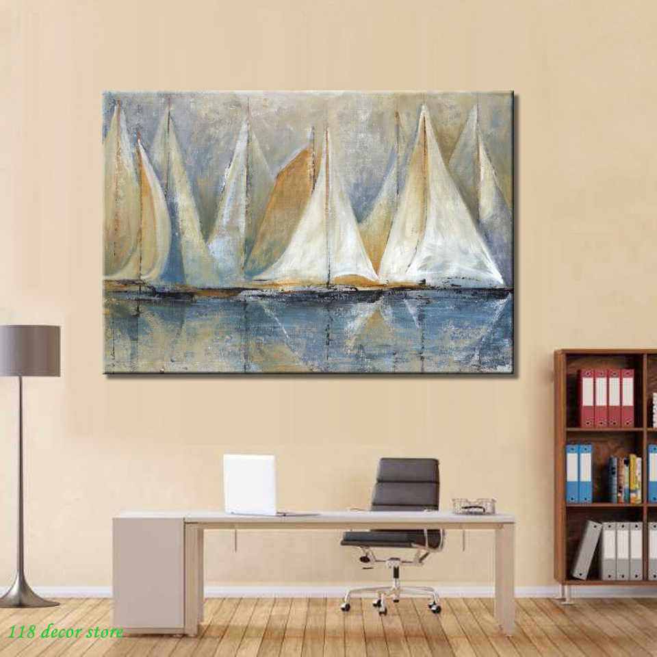 70x100cm, Canvas Prints Wall Decor, Modern Abstract Seascape Wall Art Poster Sailboat by the Sea Canvas Painting For Living Room