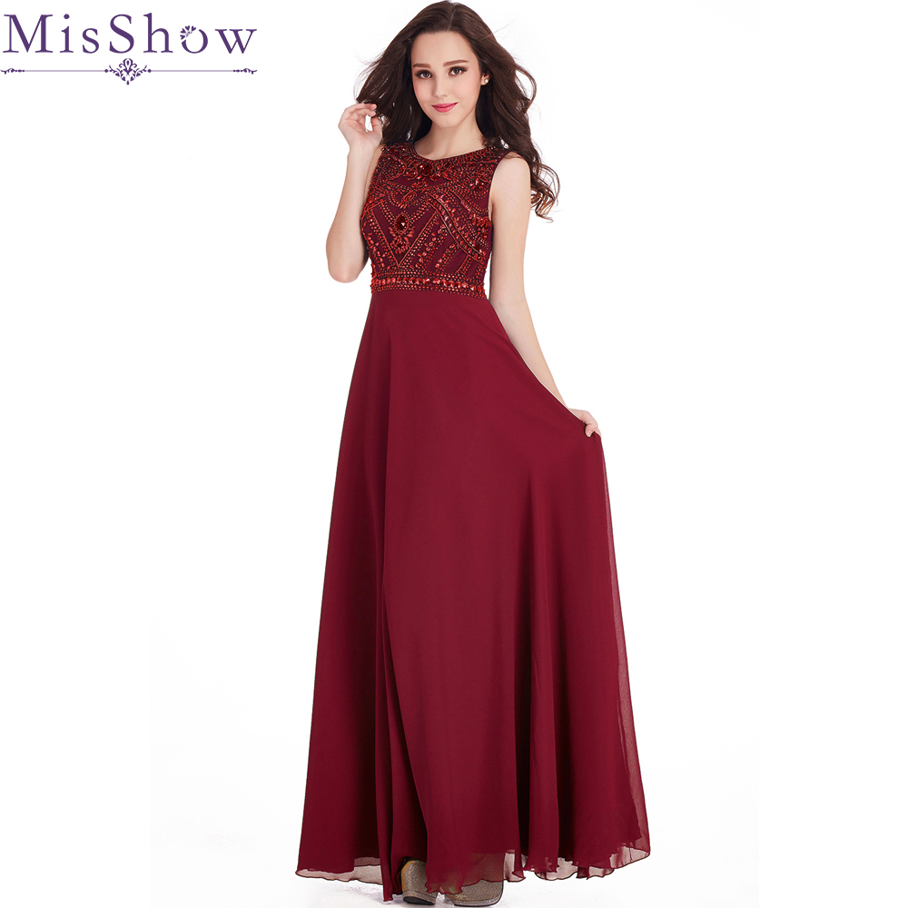 In Stock Robe de Soiree Beaded Burgundy Long   Evening     Dress   Women Formal Party   Dresses   2019 Floor Length Chiffon   Evening   Gowns