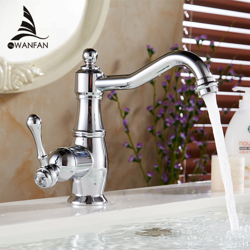 Basin Faucets Chrome Silver Brass Bathroom Sink Faucet Single Handle Swivel Hot Cold Mixer Water Tap