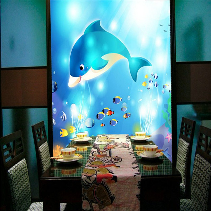Custom 3D stereoscopic large mural wallpaper wall paper underwater world living room bedroom children's room nonwoven dolphins