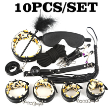 New Leopard 7/10 Pcs set Sexy Lingerie PU Leather BDSM Sex Bondage Set Hand Cuffs Footcuff Whip Rope Blindfold Erotic Toys
