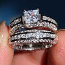 Choucong nobre princesa corte pedra 5a zircão pedra 10kt ouro branco preenchido noivado anel de banda de casamento conjunto sz 5 11 presente