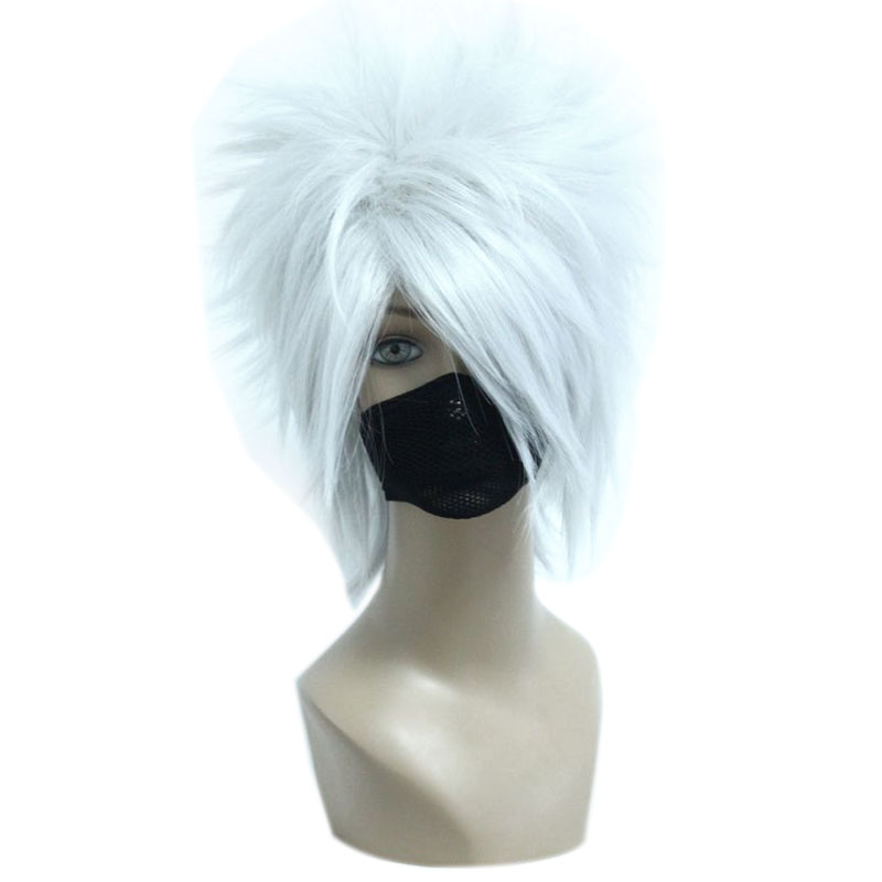MCOSER 32CM Short Silvery Grey Synthetic Hair Men Party Wig 100% High Temperature Fiber Hair