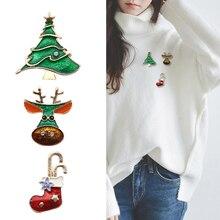 New Fashion Socks Ngau Tau Christmas Tree Brooches Pins For Women Men Enamel Rhinestone Brooch Xmas New Year Pin Jewelry