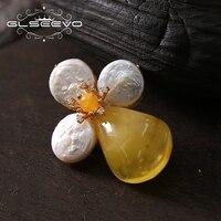 GLSEEVO природной пресной воды Барк Перл Брошь Цветок Pin пчелиный воск броши для Для женщин двойной Применение дизайнер ювелирных изделий клас