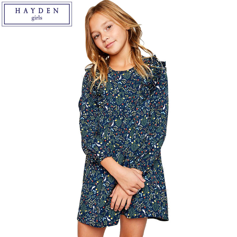 HAYDEN Girls Floral Dress 8 Years 2018 Spring Summer Teenage Girls Dresses 10 12 14 Years Big Girl Clothes Size 9 11 13 years
