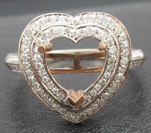 8x8mm Heart 14K Rose Gold Natural Diamond Ring
