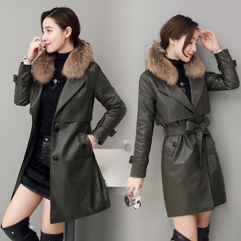 2018 New Women   Leather   Jacket 2xl Winter Medium Long Pu Collar Waist Slim Waistband   Leather   Jacket Girls Holiday Outwear Coat