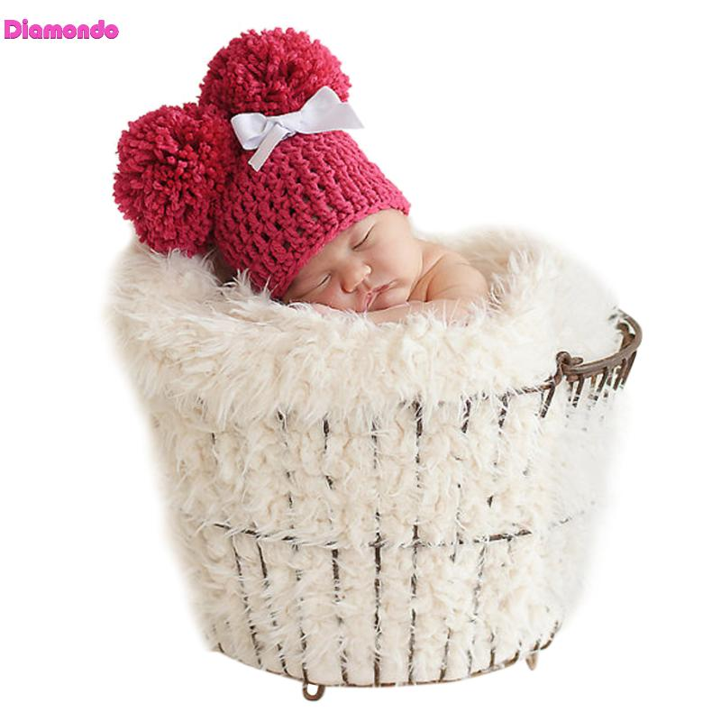 2018 Winter Warm Baby Knitted Hat Cap Newborn Photography Props Infant Toddler Cute Crochet Knitted Soft Ball Hat Cap Beanies