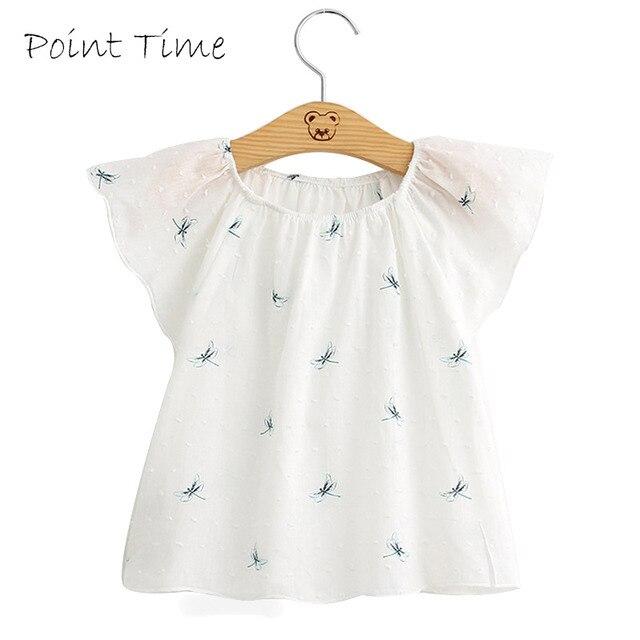 de655be57 جديد الصيف الطفل الفتيات الدانتيل البلوزات الاطفال اليعسوب نمط قمم قمصان  لطيف الطفل Gilrs قميص عارضة