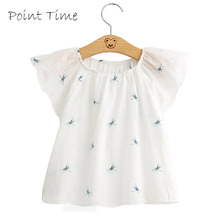 New Summer Baby Girls Lace Blouses Kids Dragonfly Pattern Tops Shirts Cute Baby Gilrs T-Shirt Casual Blouses Children Clothes 2018 spring girls embroidery blouses florals kids stripe shirt children kids tops long sleeve shirt cute school shirts blouses
