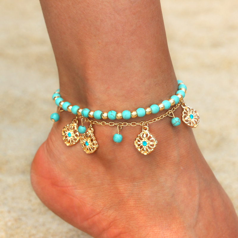 2018 New Women Gril Tassel Chain Blue Stone Gold Metal Chain Anklet Ankle Bracelet Foot Chain Jewelry Beach Anklet Summer Gift