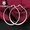 CYPRIS E043 silver earrings polular chic Flat Round Earrings pendientes/brincos CYPRIS wholesale price factory store Cute 925