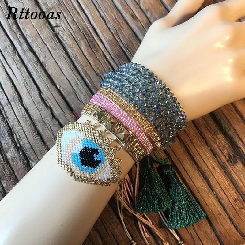 Rttooas Evil Eye Womens Bracelet Fashion Jewelry Accessories MIYUKI Beads for Girls Handmade
