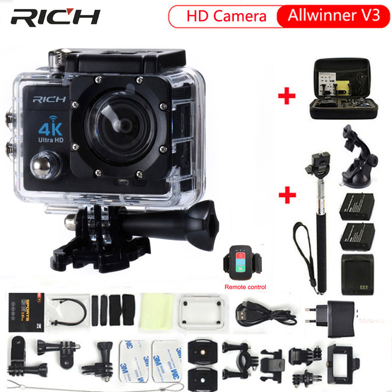 Q3H Action Camera 1080P 4K Wifi 12MP 170 Wide-Angle Lens Sports DV with Waterproof Case Video Camcorder